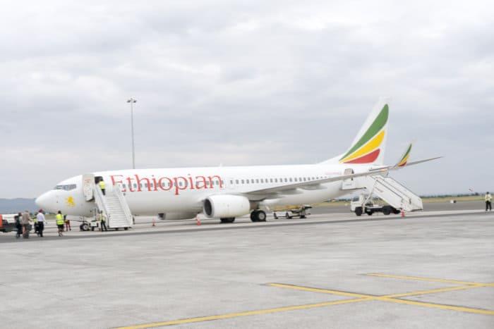Ethiopian Airlines plane parked on the tarmac, Kilimanjaro International Airport, Arusha