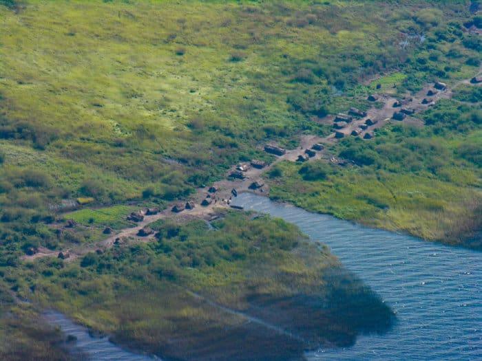 Aerial shot of a small village along Lake Mweru, near Pweto, DRC