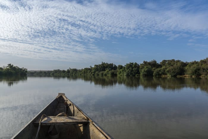 Pinasse boat on the Niger River in West Africa