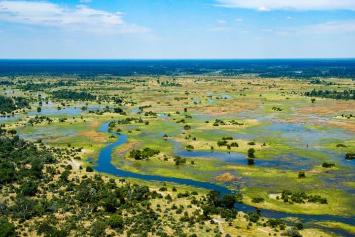 Aerial photograph of the Okavango Delta in Botswana