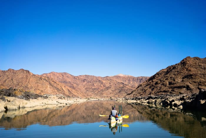 Canoe on the Orange River, South Africa