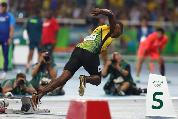 Usain Bolt off the starting blocks in Rio de Janeiro, 2016 Summer Olympic Games, Brazil