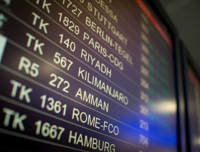 Flight TK 567 to Kilimanjaro on an airport terminal screen