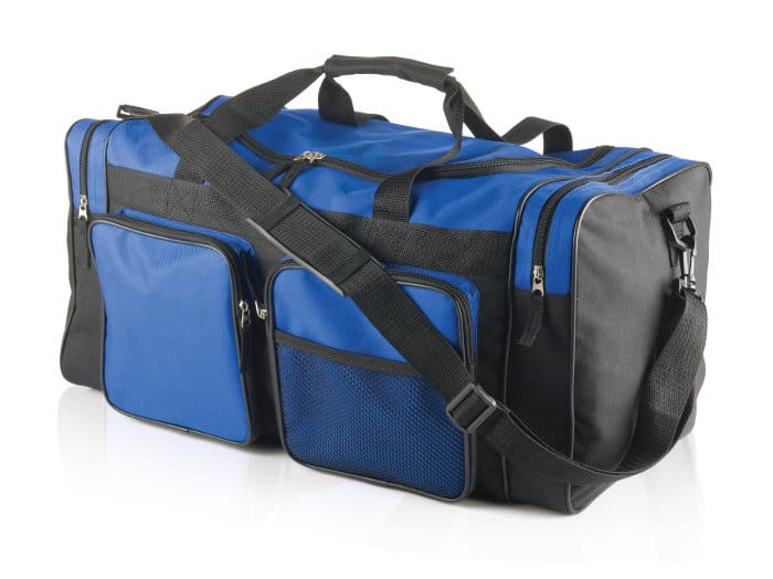 Cheap black and blue duffel bag