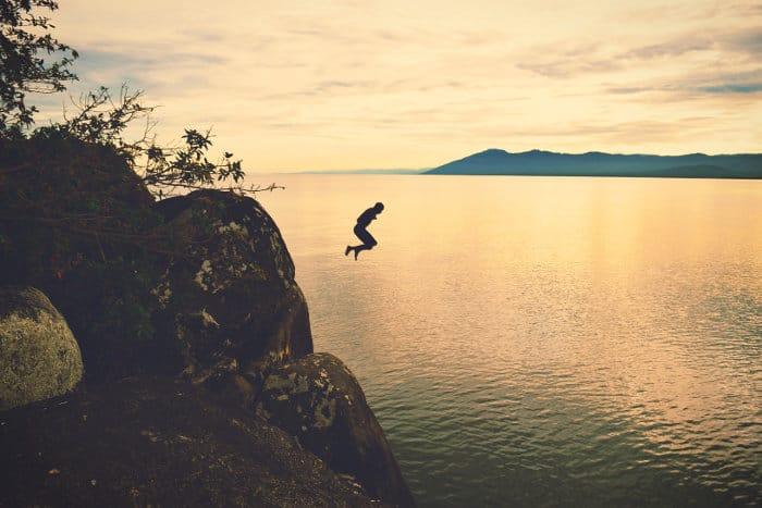 Cliff diving in Nkhata Bay, Lake Malawi