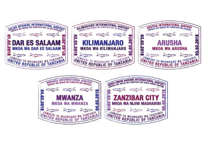Passport stamps for major airports in Tanzania