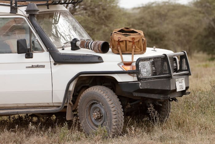 Photography equipment on a land cruiser bonnet