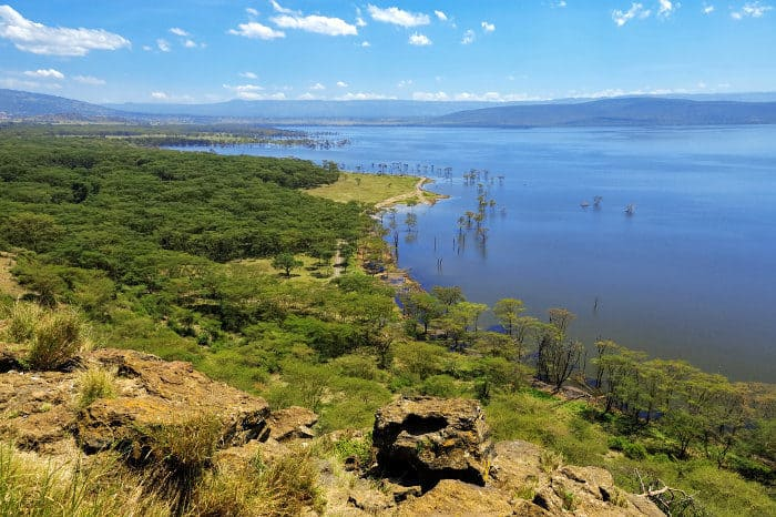 Bird's-eye view of Lake Nakuru in Kenya