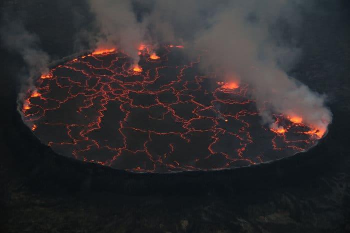 Top view of Mount Nyiragongo crater in Congo