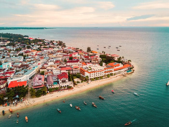 Stone Town from above - drone aerial view