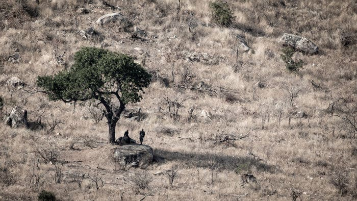Rhino anti-poaching team resting under a tree in Kruger National Park