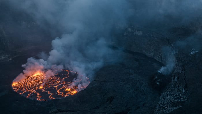 Lava lake inside the Nyiragongo volcano, Democratic Republic of Congo