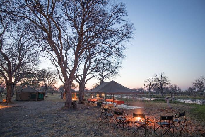 Mobile camp along the Okavango river in Botswana