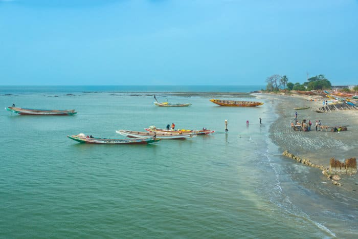 Boats on the shores of Barra, in The Gambia