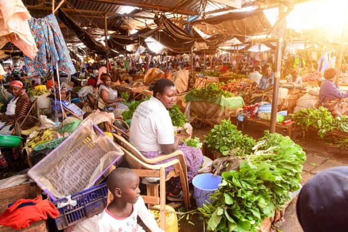 Local fruit and vegetable market in Kisumu, Western Kenya