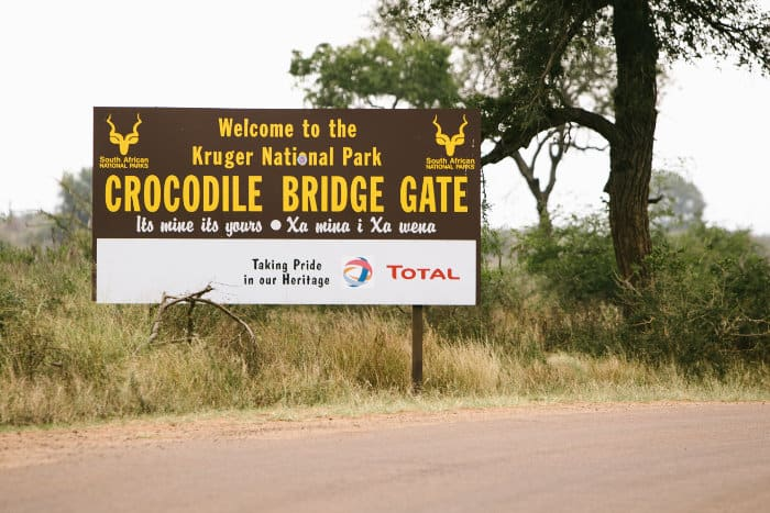 Welcome to the Kruger National Park - Crocodile Bridge Gate sign