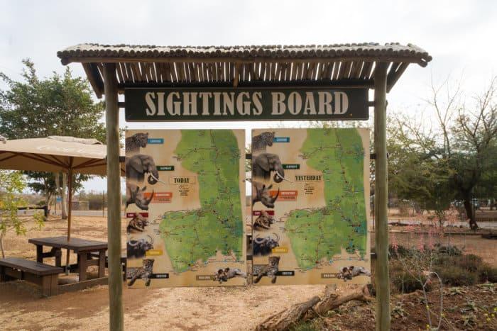 Wildlife sightings board at the Crocodile Bridge Rest Camp, Kruger