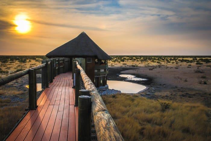 Olifantsrus camp waterhole hide in Etosha, Namibia
