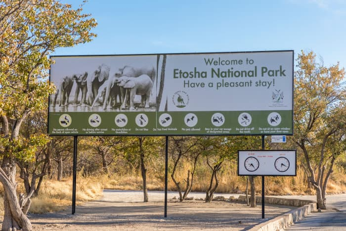 'Welcome to Etosha National Park' sign - at the entrance of the park