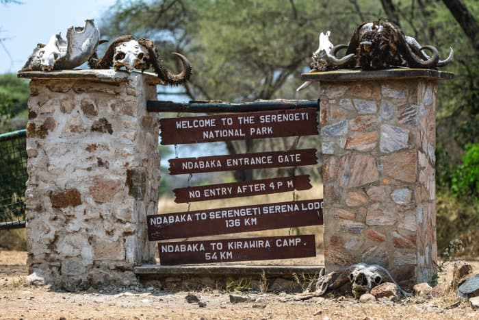 Welcome to the Serengeti National Park - entrance gate area signs