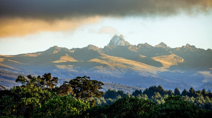 Panorama of Mount Kenya, seen from the forest