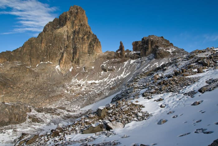 Mount Kenya summit covered in snow