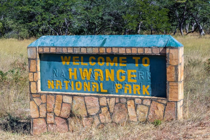 Welcome to Hwange National Park sign