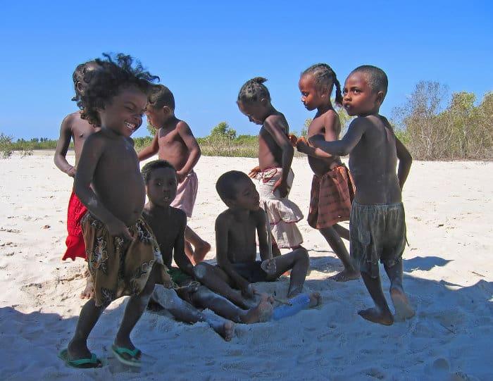 Children playing on Kimony beach, Madagascar