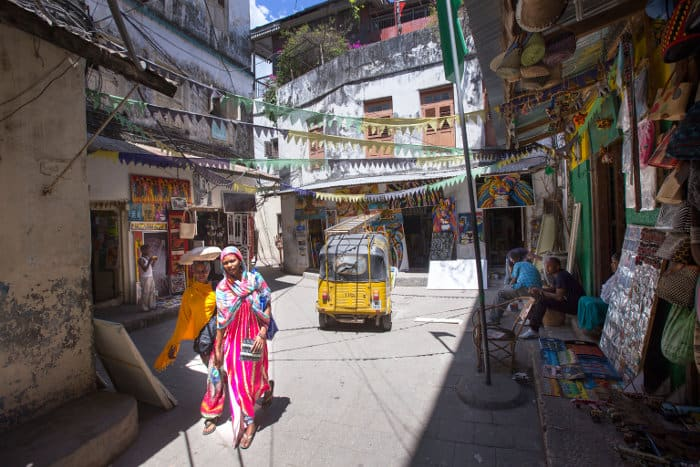 Typical street of Stone Town, the old part of Zanzibar City