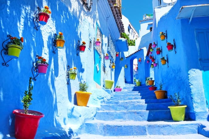 """Typical """"blue"""" architecture in Chefchaouen, Morocco"""