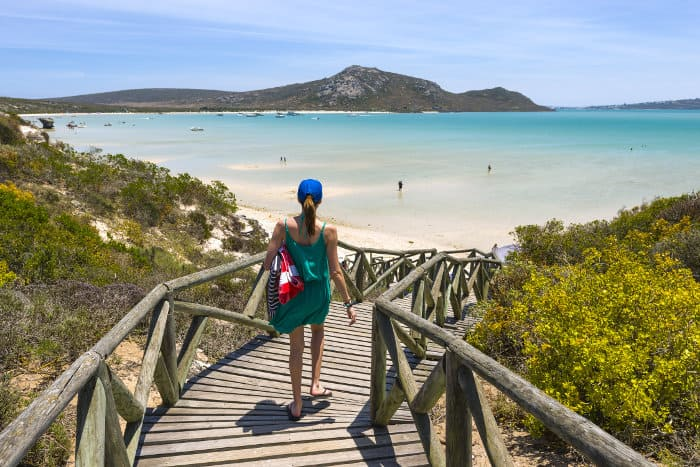 Wooden staircase leading down to a local beach in Langebaan