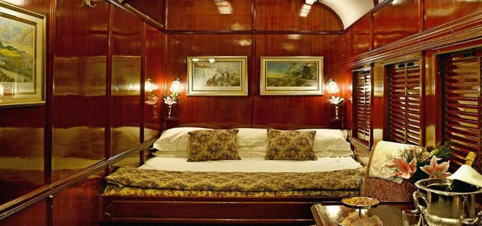 Rovos Rail Deluxe Suite interior, with double bed
