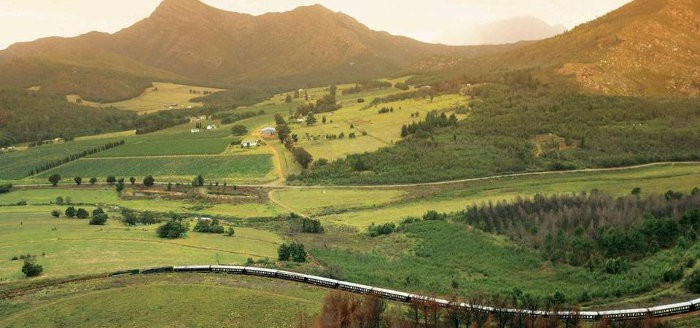 Rovos Rail train from above - Montagu Pass