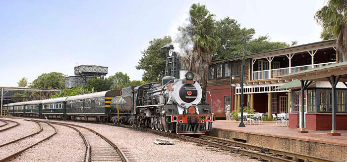 The Rovos rail train arrives at the station, Pretoria