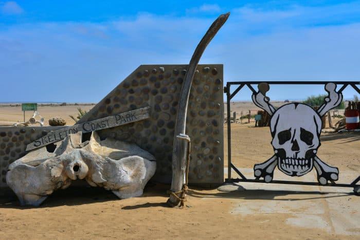 Skeleton Coast National Park entrance gate in Namibia