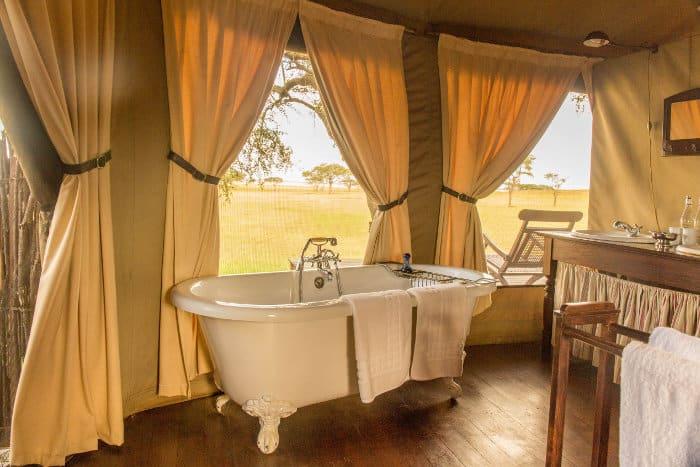 Luxury bathroom in a tented safari camp, Tanzania