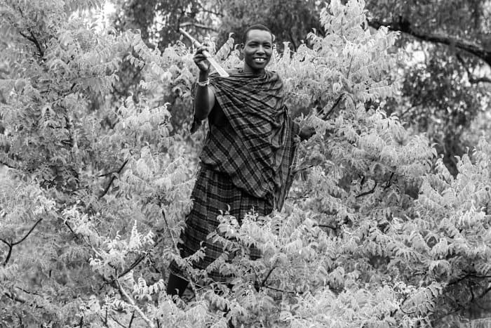 Maasai warrior in the Selous Game Reserve