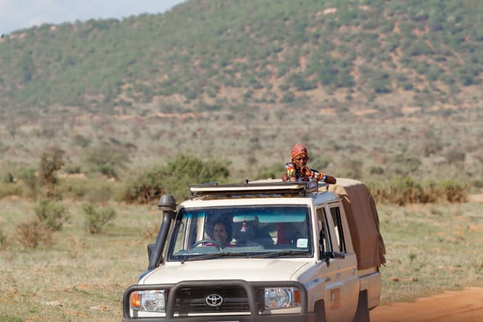 A Samburu safari guide looks out for animals from an open jeep