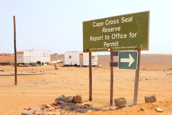 Road sign to the Cape Cross Seal Reserve on Namibia's Skeleton Coast