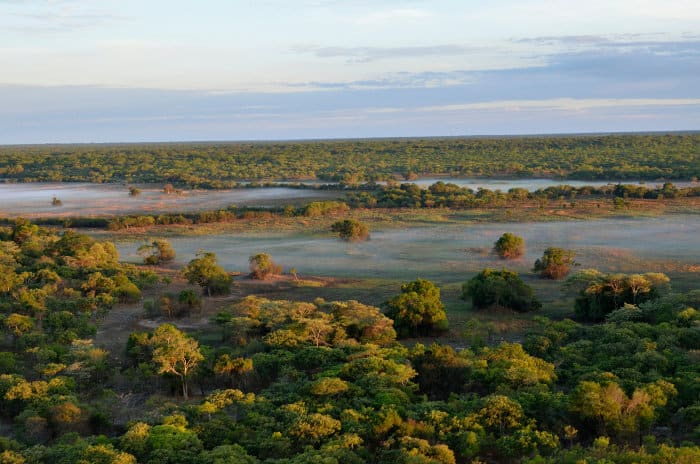Early morning aerial view of Kasanka National Park in Zambia