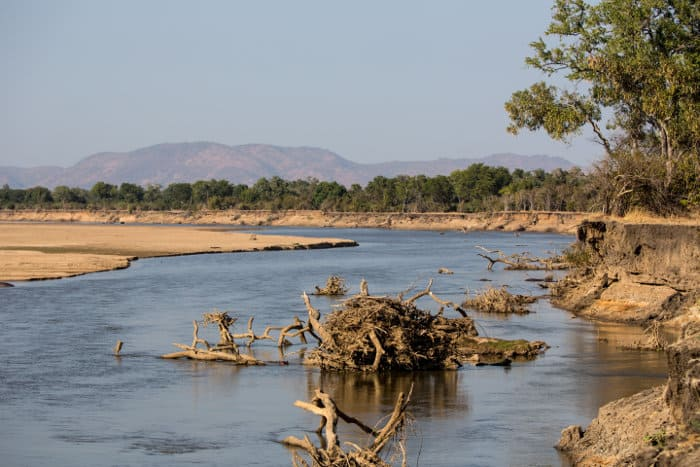 Scenic view of the Luangwa River in the dry season, South Luangwa