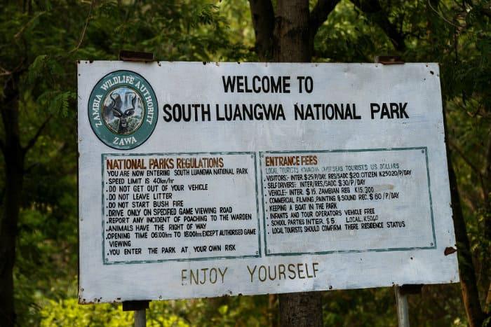 Entrance sign to South Luangwa National Park, Mfuwe area, Zambia