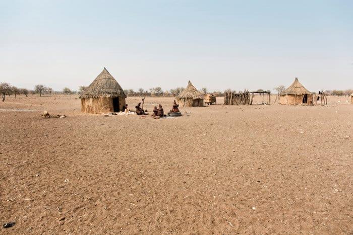 Traditional himba village near Etosha in Namibia