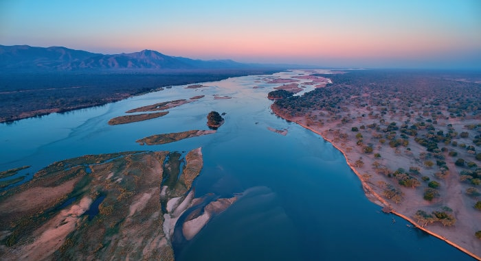 Aerial photograph of Mana Pools National Park in Zimbabwe
