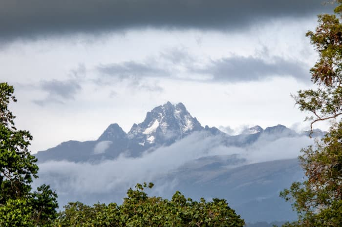 Area around Mount Kenya National Park on a cloudy day