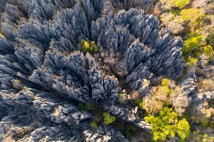 Tsingy de Bemaraha National Park from above, in Madagascar