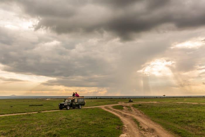 Ol Pejeta Conservancy safari on a cloudy day