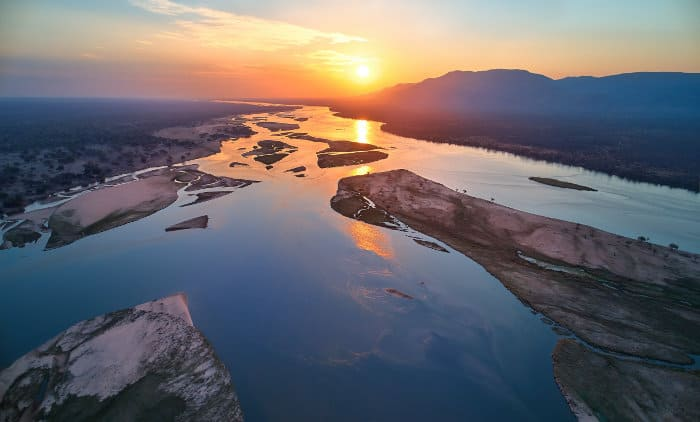 Sunset aerial view of the Zambezi river in Mana Pools National Park, Zimbabwe