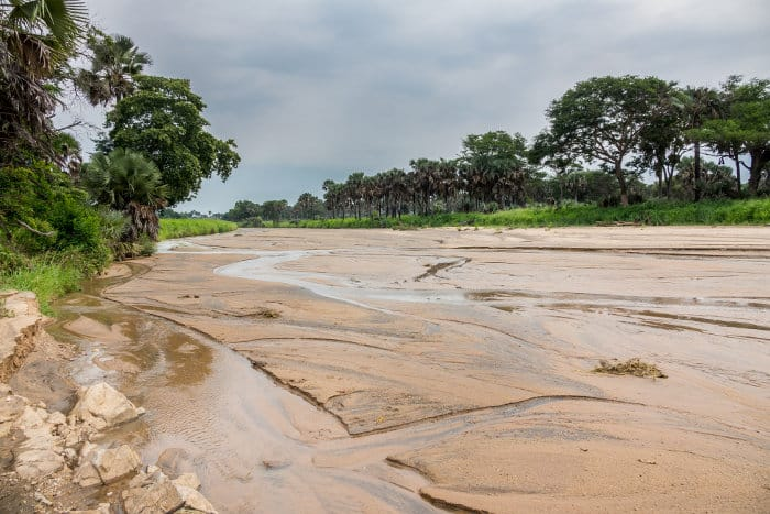 Wide angle view of the Kidepo river in Uganda