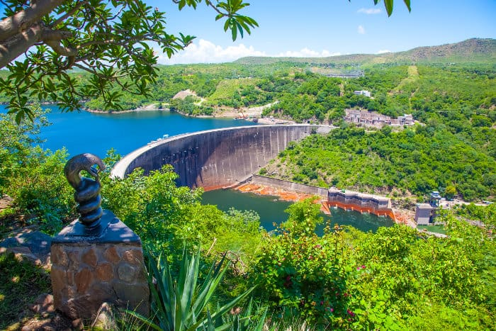 Lake Kariba dam and the statue of Nyami Nyami
